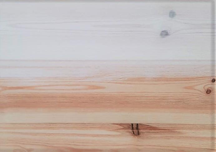 Anstreichen hilft gegen das Nachdunkeln des Holzes - Farbvergleich vorher und nachher