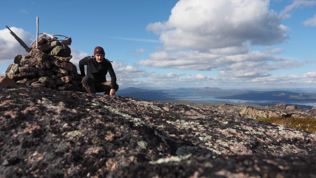 Harald auf dem Gipfel bei Indian Summer